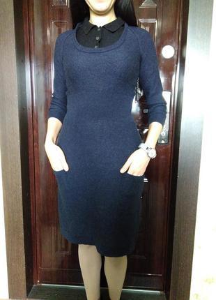 Теплое шерстяное платье миди