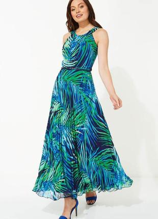 Длинное платье плиссе яркий в принт