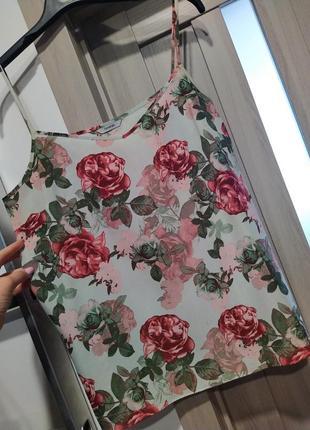 Майкв топ на брительки квітковий принт рози