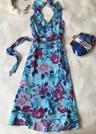 Красивое платье миди oasis голубое цветы открытая спинка
