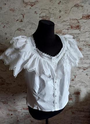 Винтажная рубашка блуза с прошвой пышный рукав