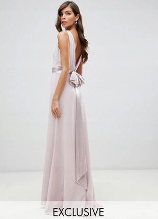 Шикарное вечернее, выпускное, свадебное платье в пол с открытой спинкой и съемным бантом.