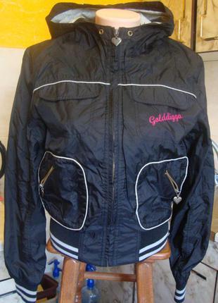 Куртка балоневая ветровка черная golddigga размер 12 лет 100% нейлон