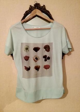 Нежно-бирюзовая футболка zara
