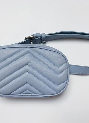 Голубая кожаная поясная сумка, бананка