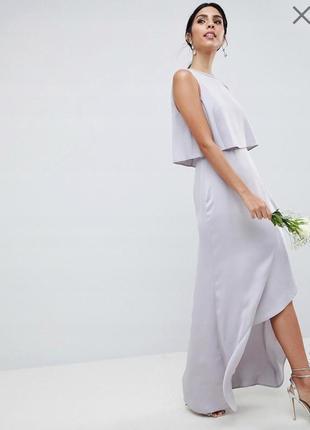 Шикарное вечернее, выпускное длинное платье asos с оборкой.
