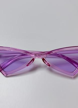 Фиолетовые очки. стильные, имиджевые треугольные очки.