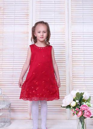 Красное стильное детское платье