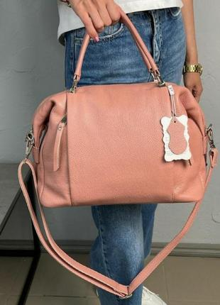Сумка кожаная женская персиковая розовая пудровая из натуральной зернистой кожи бочонок мешок мягкая вместительная красивая италия