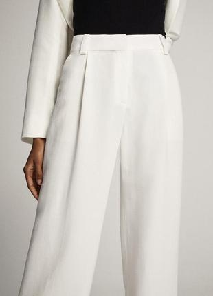 Белые льняные штаны брюки massimo dutti