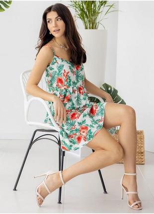 Летний сарафан с тропическим принтом, легкое платье , жіноча сукня квіткова