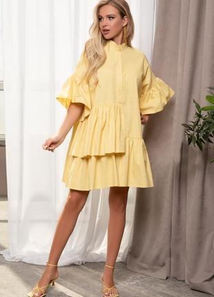 Хлопковое платье-рубашка с воланами, лимон