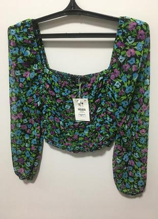 Топ в цветочный принт bershka блуза оригинал