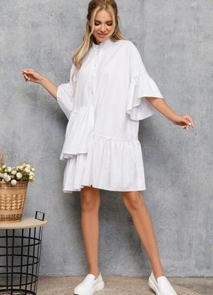 Платье-рубашка с рюшами, молоко