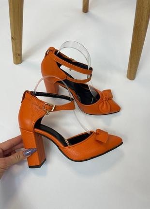Эксклюзивные босоножки женские с бантиком оранж натуральная итальянская кожа и замша