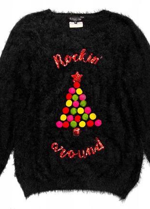 Пушистый свитерок с елкой / большая распродажа!