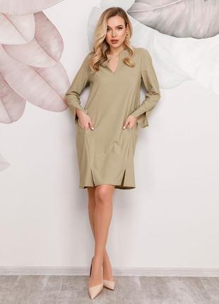 Платье цвета хаки с разрезами