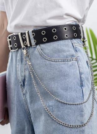 Новый кожаный чёрный ремень с люверсами по всей длине и цепочкой серебристой