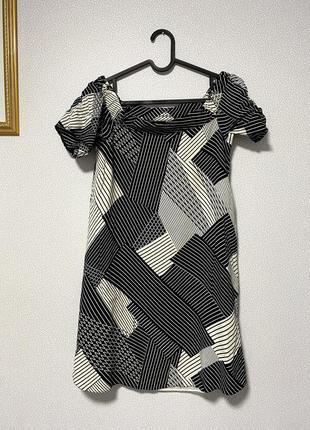 Черно-белое платье геометрия со спущенными плечами / большая распродажа!