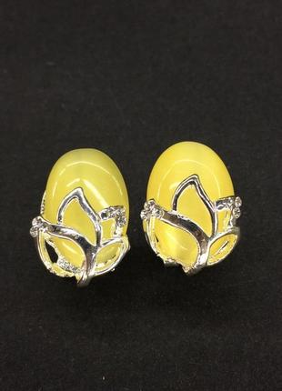 Серьги гвоздики с камнем кошачий глаз