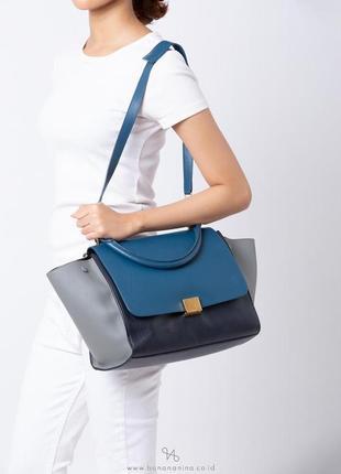 Celine trapeze medium tricolor оригинал сумка синяя кожаная