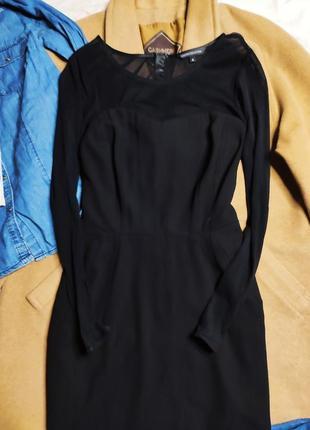 Marks spenser платье чёрное с длинным рукавом сеточка миди карандаш футляр по фигуре2 фото