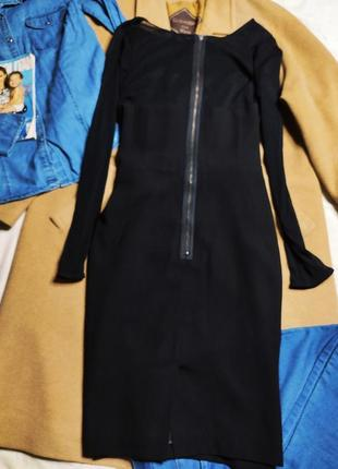 Marks spenser платье чёрное с длинным рукавом сеточка миди карандаш футляр по фигуре3 фото