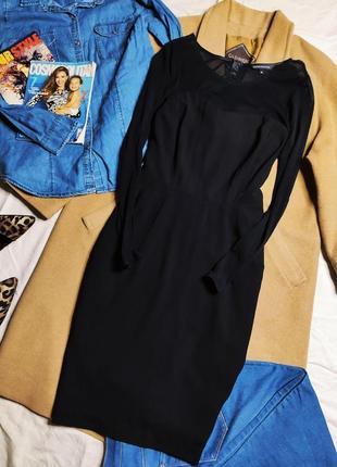 Marks spenser платье чёрное с длинным рукавом сеточка миди карандаш футляр по фигуре
