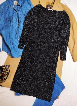 Cha cha платье прямое миди плиссерованное плиссе чёрное белое в горошек рукав три четверти