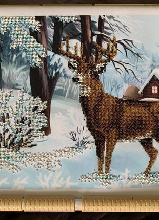 Картина вишита бісером, олень, зима, картина вышита бисером.