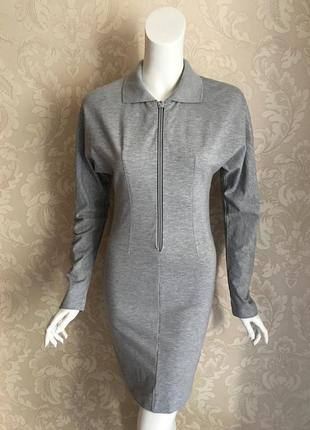 Acne studios оригинал дизайнерское серое трикотажное платье поло