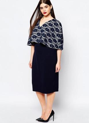 Club l платье темно синее гипюр миди по фигуре большое батал с накидкой кейпом