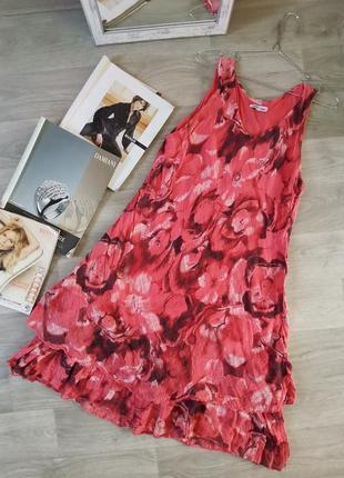 Шикарное двухярусное  летнее платье сарафан трапеция, италия