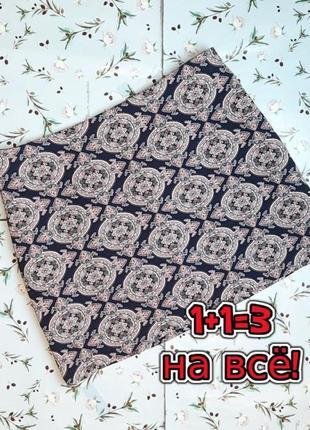 🎁1+1=3 отличная короткая синяя юбка в принт dorothy perkins, размер 52 - 54