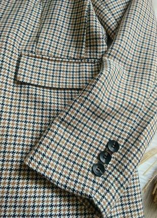Amisu актуальний подовжений прямого крою оверсайз жакет піджак блейзер в клітинку / гусячі лапки в стилі zara р. s/m/l8 фото