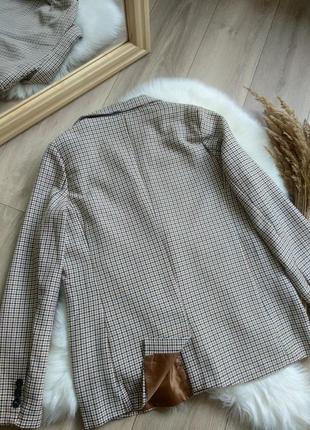 Amisu актуальний подовжений прямого крою оверсайз жакет піджак блейзер в клітинку / гусячі лапки в стилі zara р. s/m/l7 фото