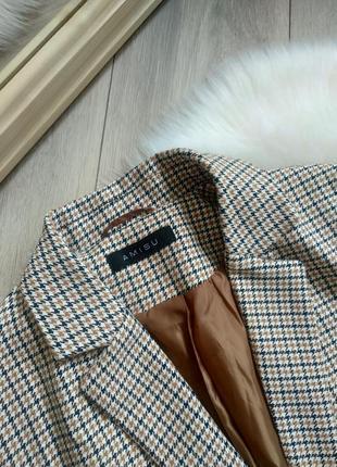 Amisu актуальний подовжений прямого крою оверсайз жакет піджак блейзер в клітинку / гусячі лапки в стилі zara р. s/m/l6 фото
