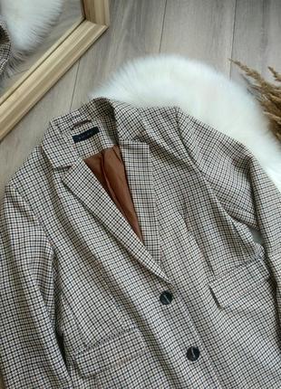 Amisu актуальний подовжений прямого крою оверсайз жакет піджак блейзер в клітинку / гусячі лапки в стилі zara р. s/m/l2 фото