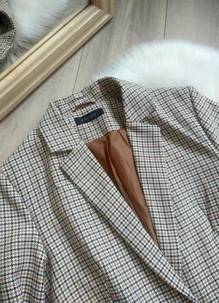 Amisu актуальний подовжений прямого крою оверсайз жакет піджак блейзер в клітинку / гусячі лапки в стилі zara р. s/m/l