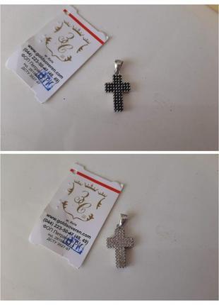 Крестик серебро двухсторонний италия
