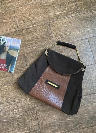 Шикарная кожаная/замшевая сумка. оригинал