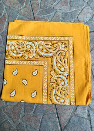 Ярко желтая бандана хлопок косынка небольшой платок повязка чокер