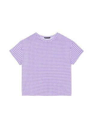 Zara футболка клетка лаванда