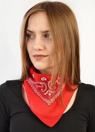 Красная бандана повязка хлопковая небольшой платок косынка