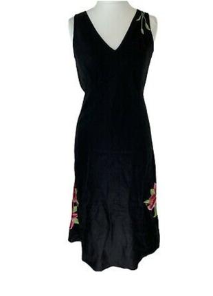 Льняное платье с цветочной вышивкой monsoon