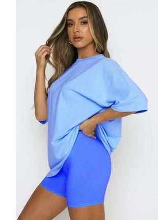 Женская футболка оверсайз светло голубая   классическая унисекс хлопковая fruit of the loom