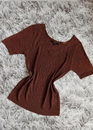 Женская футболка next, красивая футболка в рубчик, cтильная блуза next
