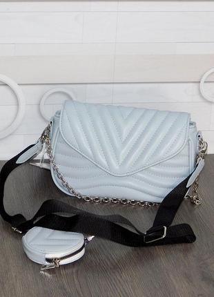 Стильна голуба сумочка клатч жіноча