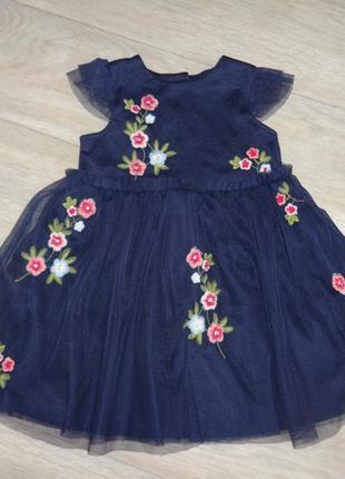 Primark красивое нарядное пышное синее платье на девочку 12-18 мес 80-86см