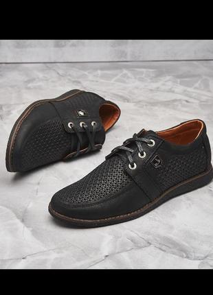 Мужские кожаные чёрные туфли